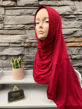 Load image into Gallery viewer, Premium Jersey Pearl Hijab - Maroon