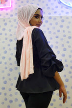 Load image into Gallery viewer, Hosiery Arabic Pearl Shawl- Light Pink (Floral)