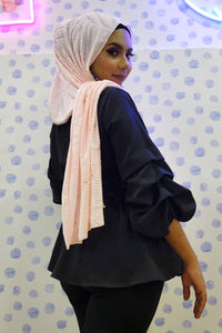 Hosiery Arabic Pearl Shawl- Light Pink (Floral)