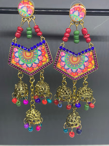 Jumka Abstract Retro Earrings- Rainbow
