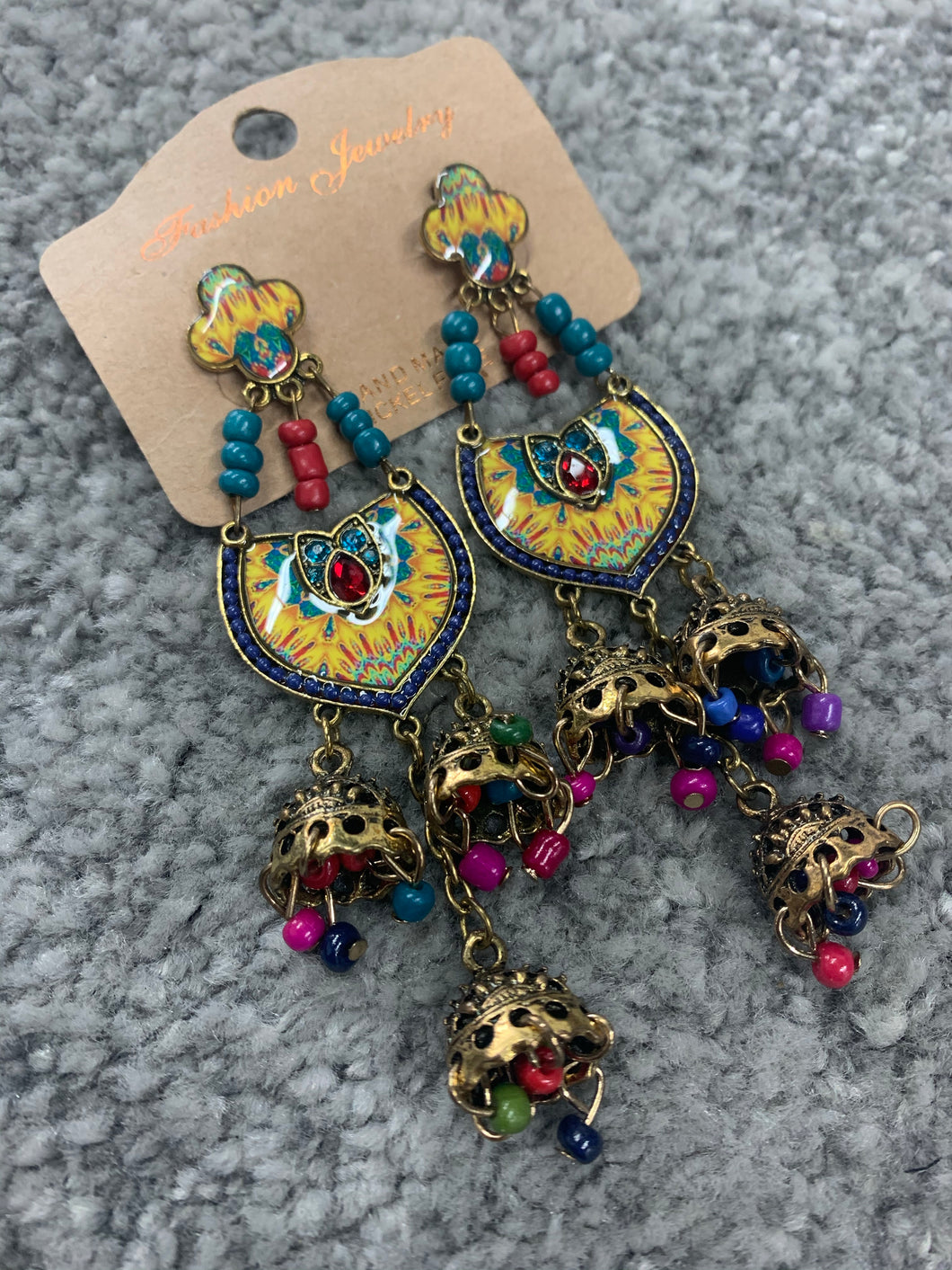 Jumka Handmade Nickel Free Earrings- Rainbow