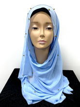 Load image into Gallery viewer, Arabic Chiffon Pearl Hijab-Baby blue