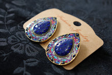 Load image into Gallery viewer, Studded Handmade Nickel Free Earrings- Blue