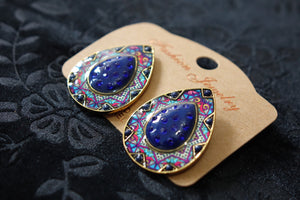 Studded Handmade Nickel Free Earrings- Blue