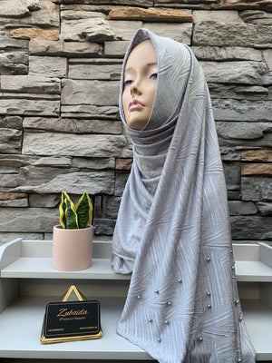 Hosiery Arabic Pearl Shawl- Grey (Diagonal)