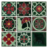 Art Nouveau Dark Green 4 Dots Flower XL
