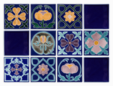 Art Nouveau Navy Royal Flower Large