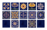 Art Nouveau Navy Geo Tile Yellow Mini