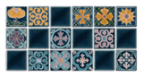 Art Nouveau Teal Geo Tile Yellow Mini