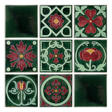 Art Nouveau Dark Green Flower with Leaves Large