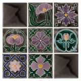 Art Nouveau Grey Square Flower Large