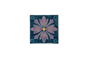 Art Nouveau Teal 4 Dots Flower Mini