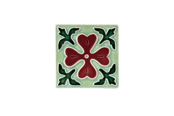 Art Nouveau Mint Corner Leaves Flower Mini