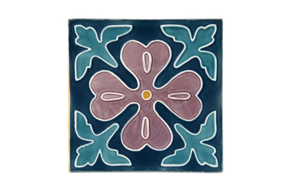 Art Nouveau Teal Corner Leaves Flower XL