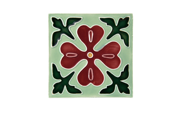 Art Nouveau Mint Corner Leaves Flower Large