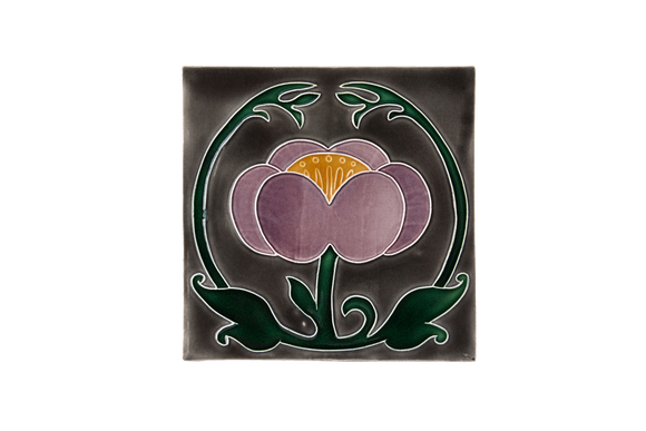 Art Nouveau Grey Flower with Leaves Large
