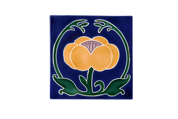 Art Nouveau Navy Flower with Leaves Large