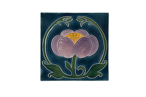 Art Nouveau Teal Flower with Leaves Large