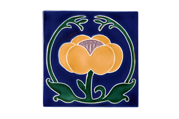 Art Nouveau Navy Flower with Leaves XL