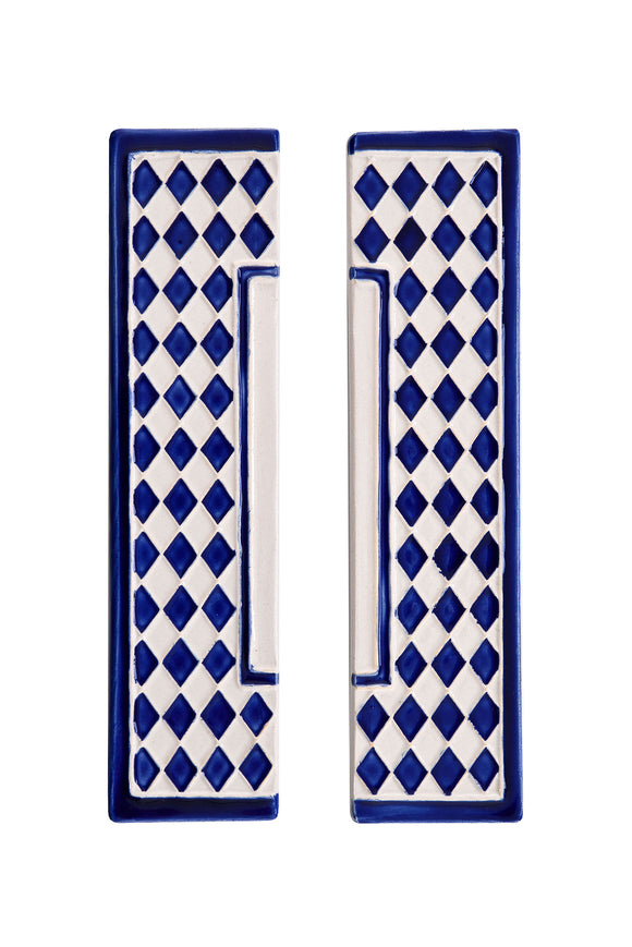 Blue Diamond House Number Side Pair