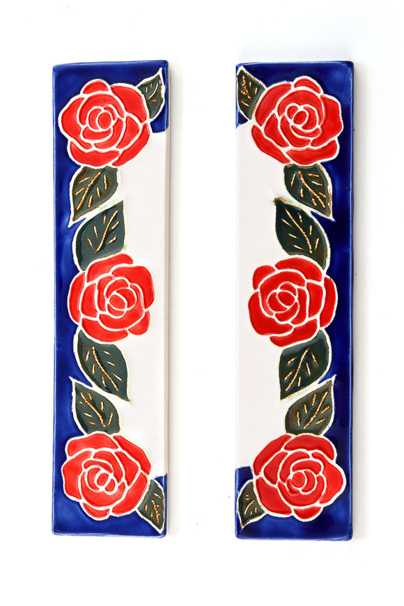 Red Rose House Number Side Pair
