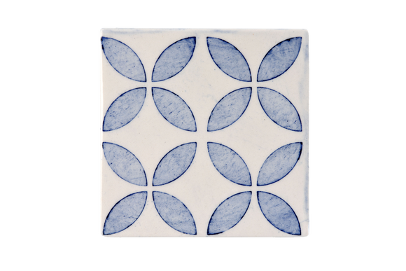 Geometric Pattern Four Flower Blue Large