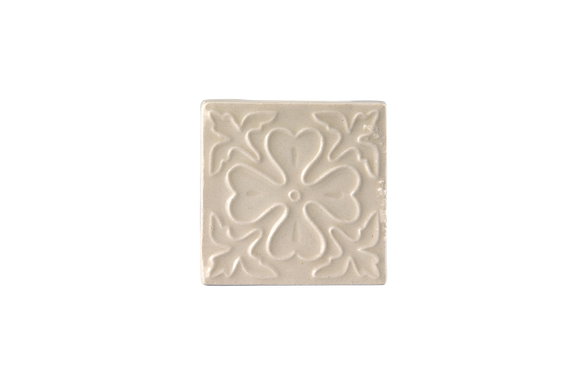 Art Nouveau White Corner Leaves Flower Mini