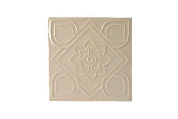 Art Nouveau White Square Flower Large