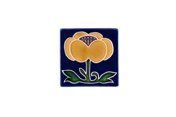 Art Nouveau Navy Flower with Leaves Mini