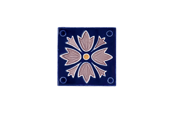 Art Nouveau Navy 4 Dots Flower Mini