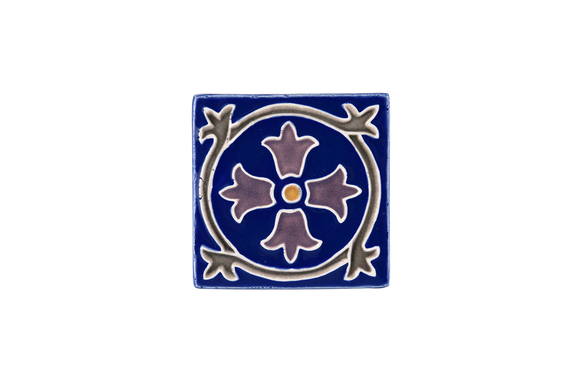 Art Nouveau Navy Royal Flower Mini
