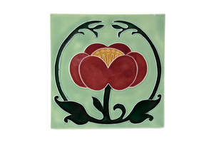 Art Nouveau Mint Flower with Leaves XL