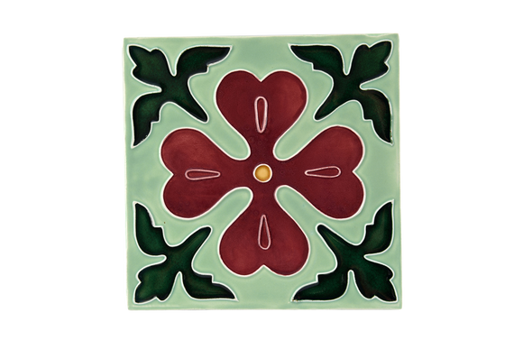 Art Nouveau Mint Corner Leaves Flower XL