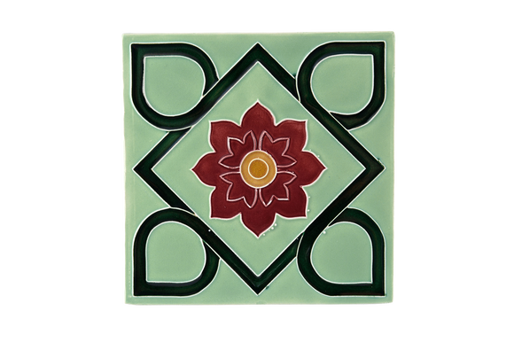 Art Nouveau Mint Square Flower XL