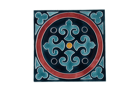 Art Nouveau Teal King Circle (Maroon Circle) XL