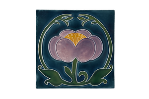 Art Nouveau Teal Flower with Leaves XL