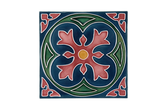 Art Nouveau Teal Spin Flower Maroon XL