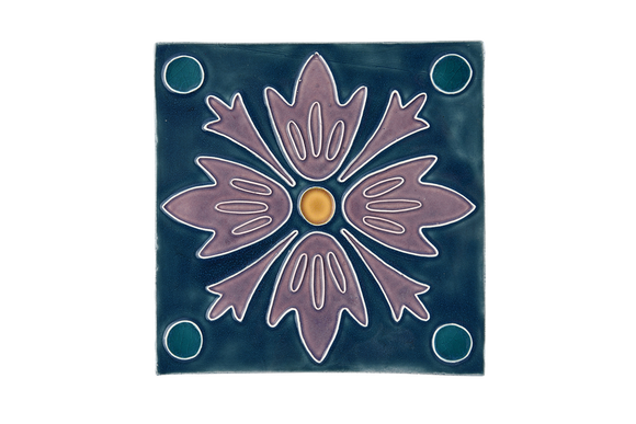 Art Nouveau Teal 4 Dots Flower XL