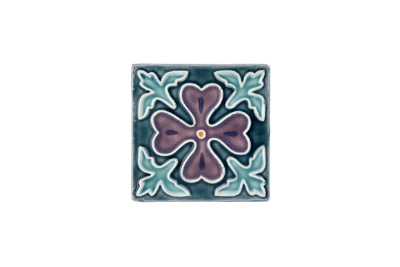 Art Nouveau Teal Corner Leaves Flower Mini