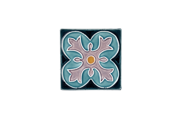 Art Nouveau Teal Spin Flower Mini