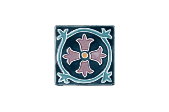 Art Nouveau Teal Royal Flower Mini