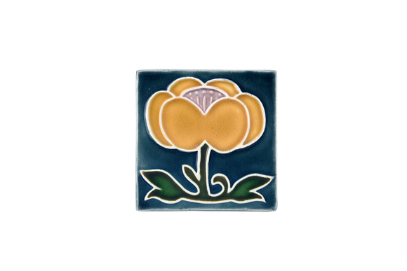 Art Nouveau Teal Flower with Leaves (yellow flower) Mini