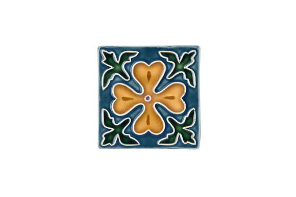 Art Nouveau Teal Corner Leaves Flower (yellow flower) Mini