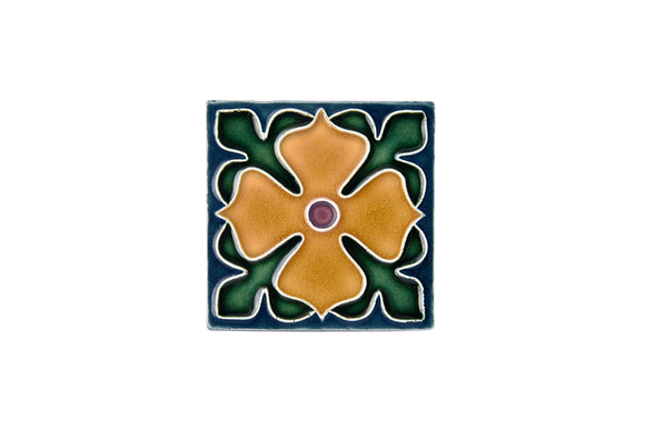 Art Nouveau Teal Large Flower (yellow flower) Mini