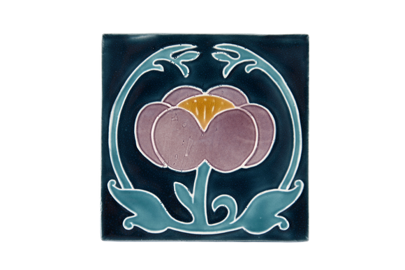 Art Nouveau Navy Flower with Leaves (Turquoise Leaves) Large