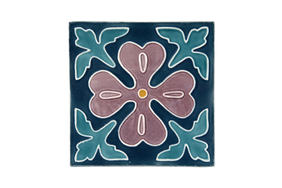 Art Nouveau Teal Corner Leaves Flower Large