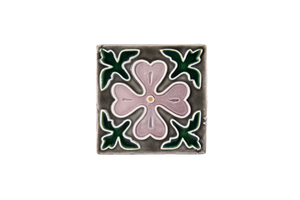 Art Nouveau Grey Corner Leaves Flower Mini