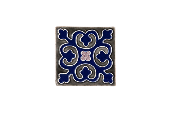 Art Nouveau Grey Geo Tile Navy Mini