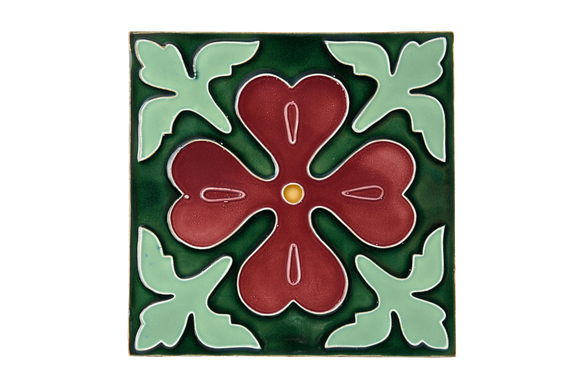 Art Nouveau Dark Green Corner Leaves XL