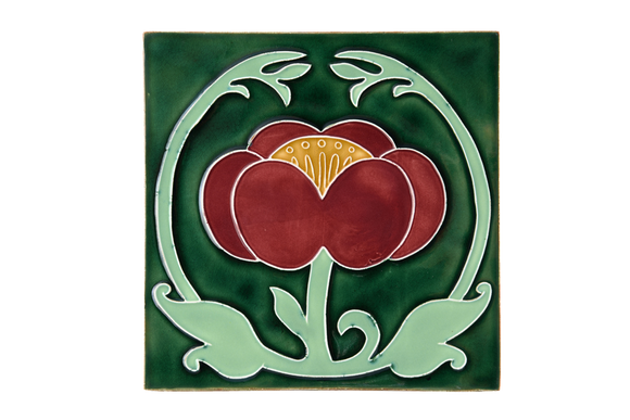 Art Nouveau Dark Green Flower with Leaves XL